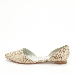 Alice & Olivia Metallic Crocodile-Embossed Flats